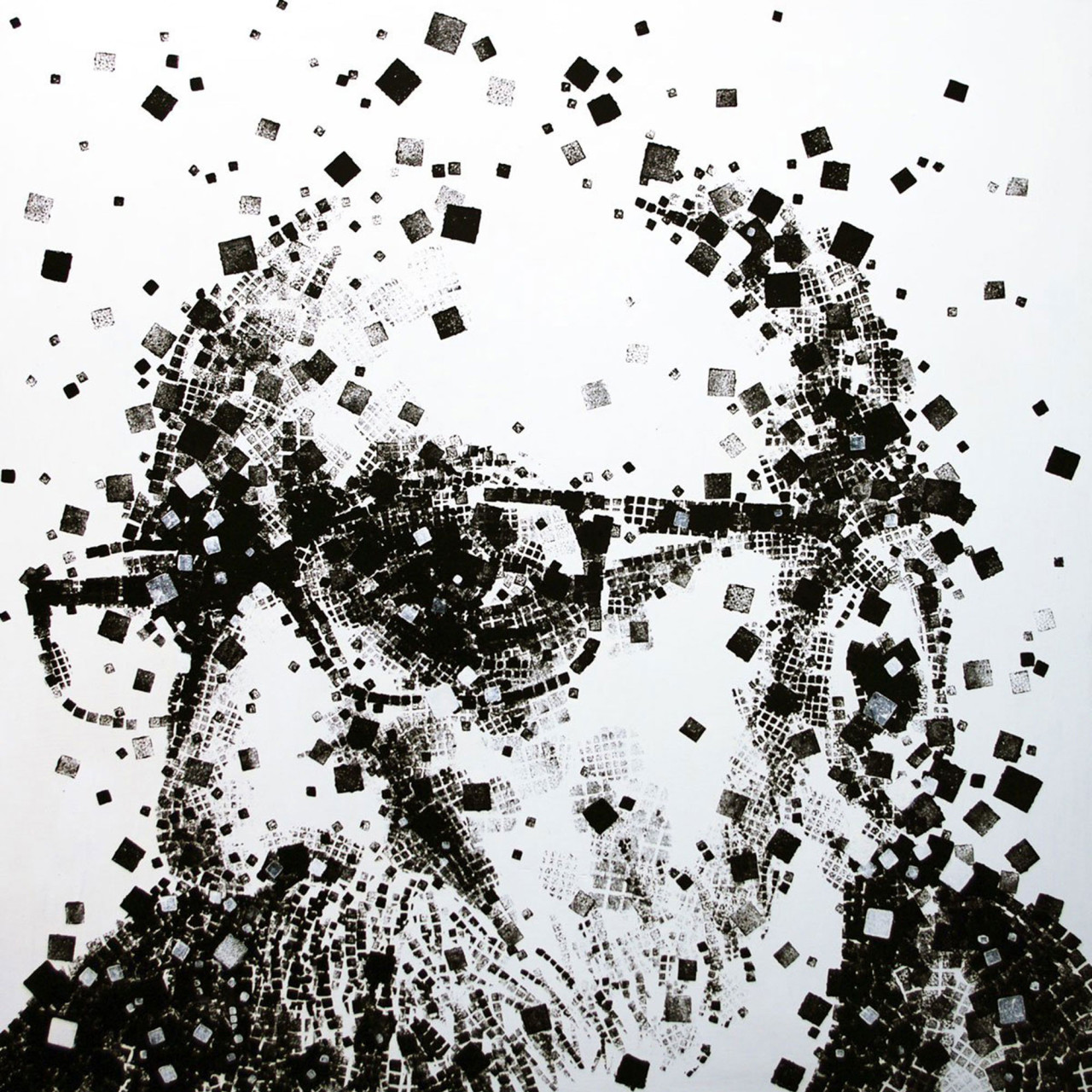 Io. Italiano. Autoritratto, 2011, tecnica mista su tavola 85x85 cm