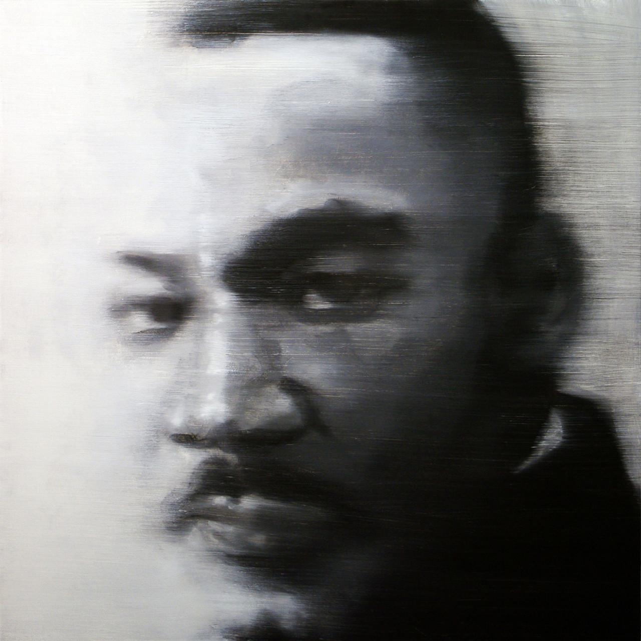 Omaggio a Martin Luther King, 2012, olio su tavola 85x85 cm