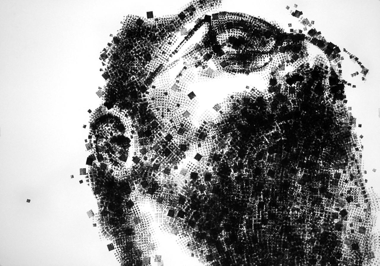 Autoritratto, 2009, inchiostro su cartoncino su tavola 100x100 cm