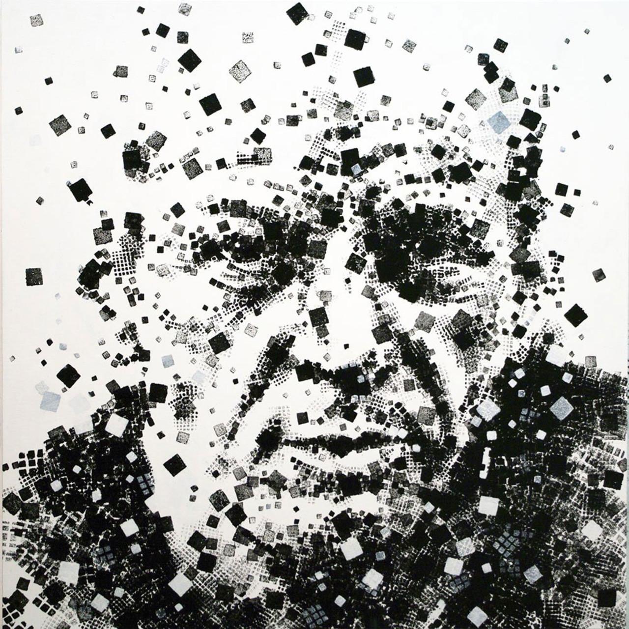 Omaggio a Jackson Pollock, 2010, tecnica mista su tavola 90x90 cm