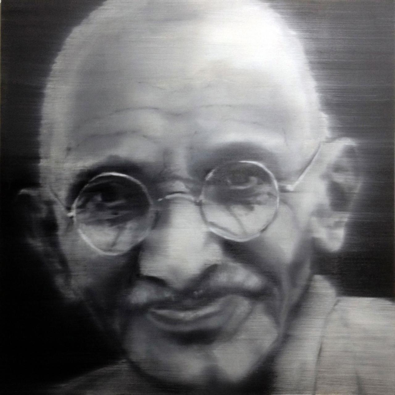 Omaggio a Mahatma Gandhi, 2015, olio su tavola 85x85 cm