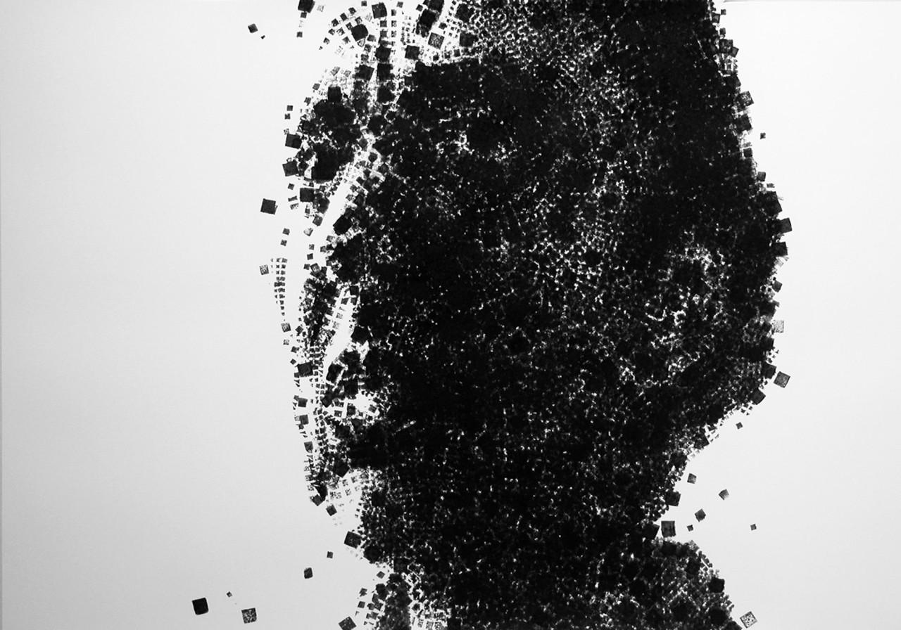 Studio per ritratto, 2009, inchiostro su cartoncino 100x100 cm