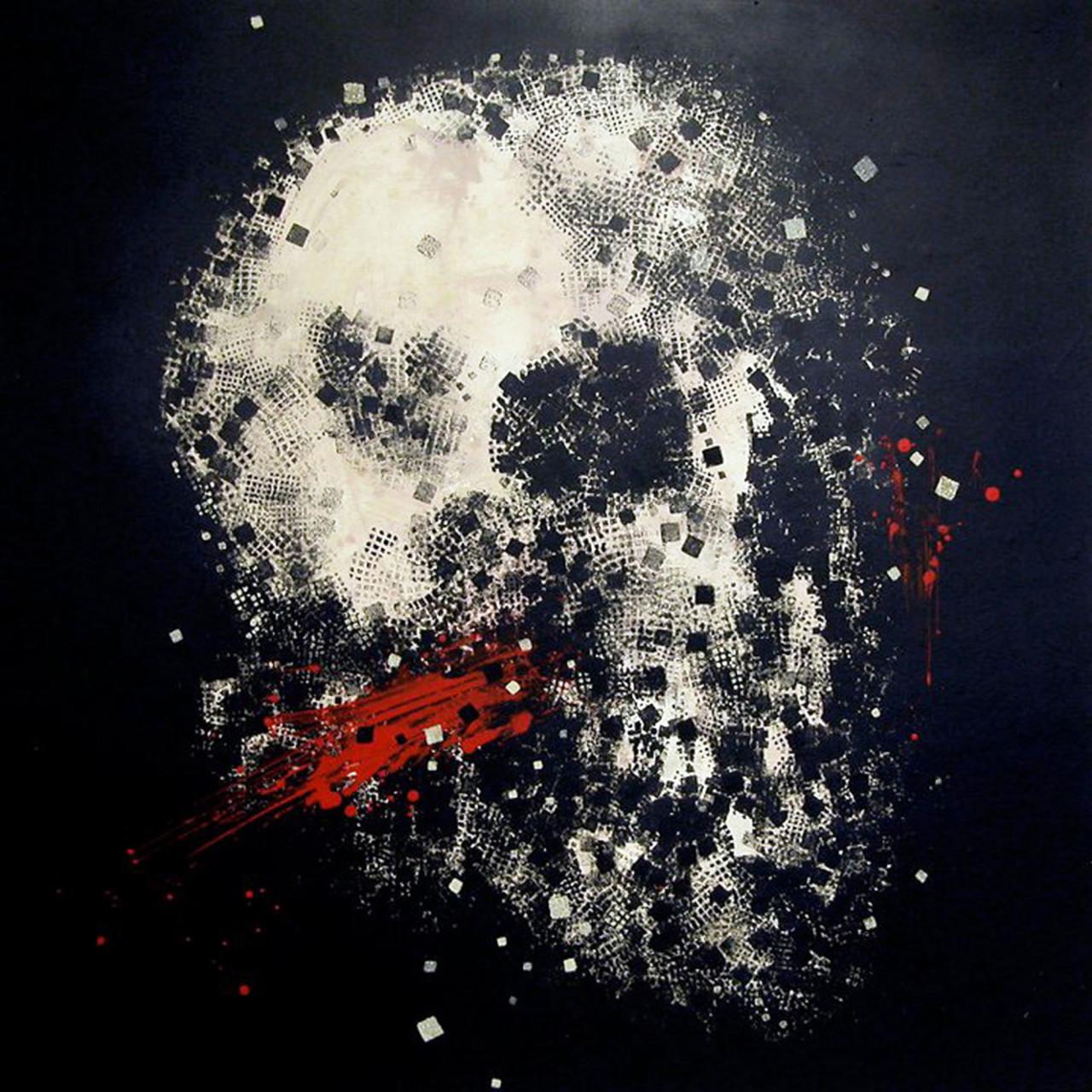 Teschio 1, 2009, tecnica mista su tavola 120x120 cm